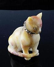 A gem set hardstone figure of a seated cat, 3.25in.