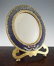 A Venetian oval floral micro mosaic gilt framed easel mirror, 19in.