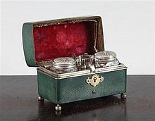 A late 18th century travelling desk set, 3in.
