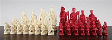 A 19th century carved ivory canton chess set, King 4.5in.