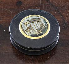 A late 18th/early 19th century circular tortoiseshell snuff box, 2.75in.