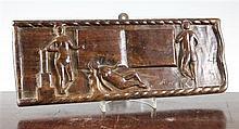 A rectangular lignum vitae sailor panel, 16 x 6in.