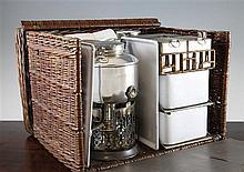 A Drew & Sons 'En Route' wicker picnic hamper, 15in.