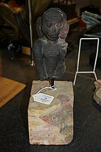 An Indian red sandstone figure fragment of Hanuman, possibly Rajasthan 13th/14th century, 7in., later stone plinth