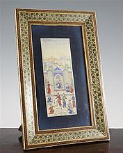 An Islamic rectangular ivory painted panel, 30.5in.