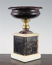 A 19th century circular Blue John urn, overall 10in.