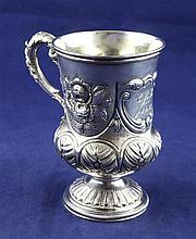 A George IV silver pedestal christening mug, 6.5 oz.
