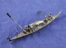 An early 20th century continental silver miniature model of a gondola, 7.75in.