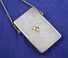 An Edwardian patented silver and enamel card case by Sampson Mordan & Co, 4in.