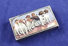 A Victorian silver and enamel vesta case by Sampson Mordan & Co, decorated with a pack of hunting hounds, 2.25in.