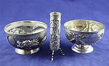 Two early 20th century Chines silver bowls with golf related inscriptions and a vase.