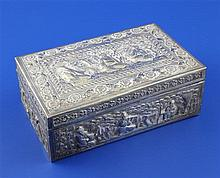 An early 20th century Chinese silver rectangular box, 16 oz.