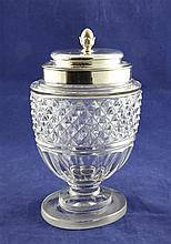 A George III cut glass honey jar with silver mount and lid by Paul Storr, 7.75in.