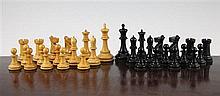A Jaques boxwood and ebony Staunton pattern chess set,