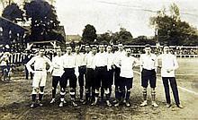 An English International football team postcard, 5.5in.