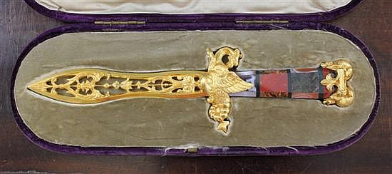 A fine 19th century ormolu and agate paper knife, believed from the Rothschild family, Mentmore Towers, 9.5ins