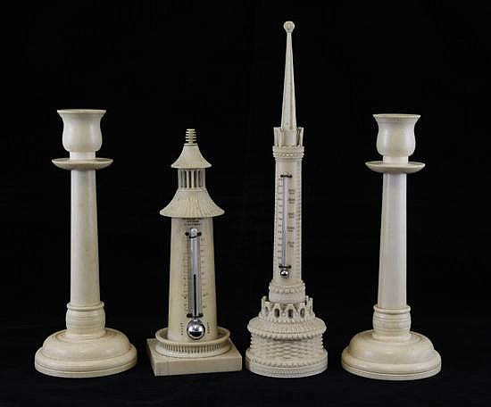 Lighthouse thermometer, tower thermometer & pair candlesticks