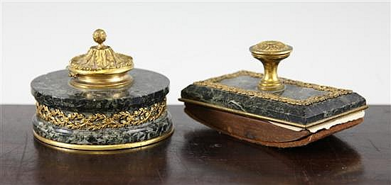 An early 19th century French inkwell and matching blotter, 4.5in & 45.25in.