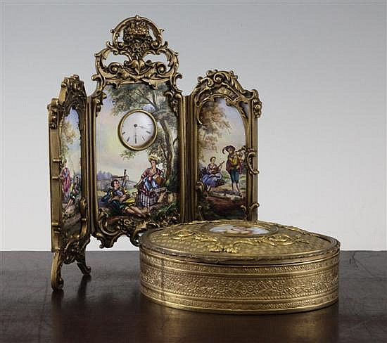 A late 19th century Palais Royale gilt brass circular trinket box, 5.5 x 7.25in.