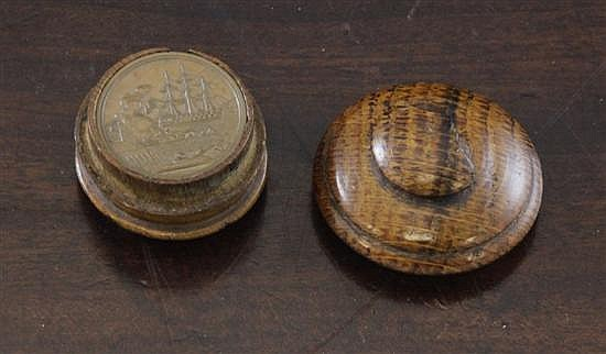 A set of four mid 19th century bronze whist markers