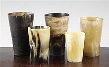 A pair of 19th century horn beakers & 3 others