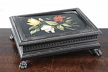 A Victorian rectangular ebonised casket, 10 x 8in.