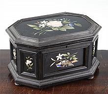 A Victorian octagonal Derbyshire black marble casket, 9.5in.