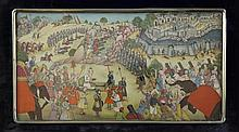 A 20th century Indian rectangular painted ivory panel, 10 x 5.5in., in original fitted case