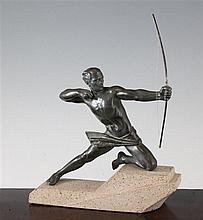 A Max Le Verrier Art Deco figure of a kneeling male archer, 7.9in.