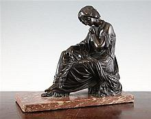 After Jean Jacques Pradier. A 19th century French bronze figure of a seated Sappo, 12in.