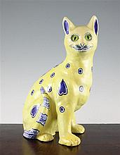 A Mosanic Galle style faience seated figure of a cat, late 19th century, 31.5cm