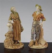 A pair of Royal Worcester figures of gardeners, modelled by James Hadley, late 19th century, 6.5in.
