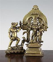 Two Indian/Himalayan Hindu bronze figures of Kali and Varaha, 18th / 19th century, 14cm.