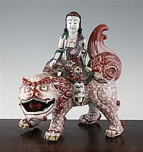 A Japanese Kutani figural incense burner, 19th century, 12in., cover restored