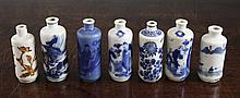 Seven Chinese porcelain snuff bottles, late 19th / early 20th century, 7 - 8cm.