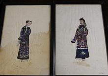 Five Chinese School pith paintings of Qing court figures, first half 19th century, 27.5 x 18cm. framed and glazed