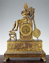 A French Empire ormolu mantel clock, 20.5in.