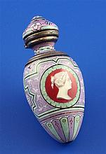 A 19th century French silver and polychrome enamel scent bottle, 3in.