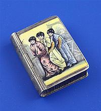 A Victorian novelty silver and enamel vesta case modelled as a book, 1.5in.