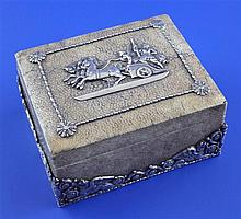 An early 20th century continental silver mounted shagreen box with tortoiseshell lining, 4.25in.
