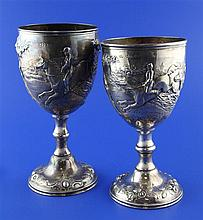 Two similar Victorian silver trophy cups, 15 oz.