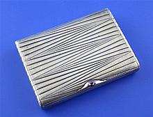 An early 20th century Russian 84 zolotnik silver cigarette case, gross 5 oz.