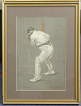 Albert Chevallier Taylor (1862-1925) Famous Cricketers; W.Rhodes, C.B.Fry, William Grace and Lord Harris, 14.5 x 10in.