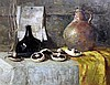 Mary Remington (1910-2003) Still life of mushrooms and old bottles, 20 x 24in.
