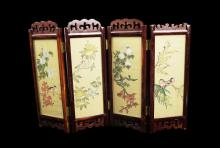 A Chinese Framed Table Screen with Paintings of Flowers and Birds and Ladies on Silk