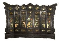 19TH century Chinese Extra Large Old Hardwood Screen Studded with Jades