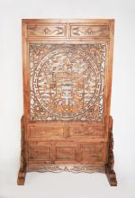 A Chinese Fregrent Camphor Wood Standing Screen carved with Hollow-out