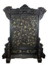 Chinese Old Red Wood Screen studded with Jades