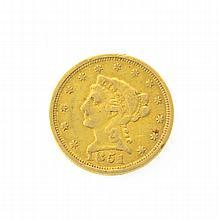 *1851 $2.5 U.S Liberty Head Gold Coin (DF)