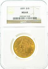 *1899 $10 MS 64 NGC Liberty Gold Coin (DF)